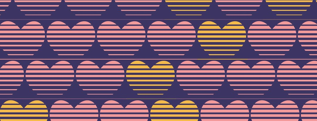 a pattern of hearts broken up by hearts in a contrasting color