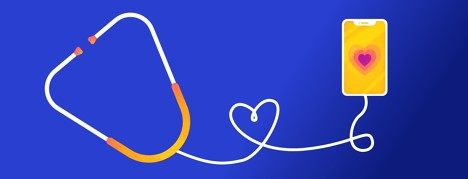 Phone with a heart on the screen while a stethoscope is plugged into the headphone jack