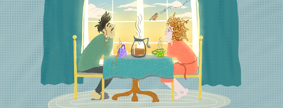 Couple sitting asleep at kitchen table with coffee and a bird singing, the husband has sleep apnea