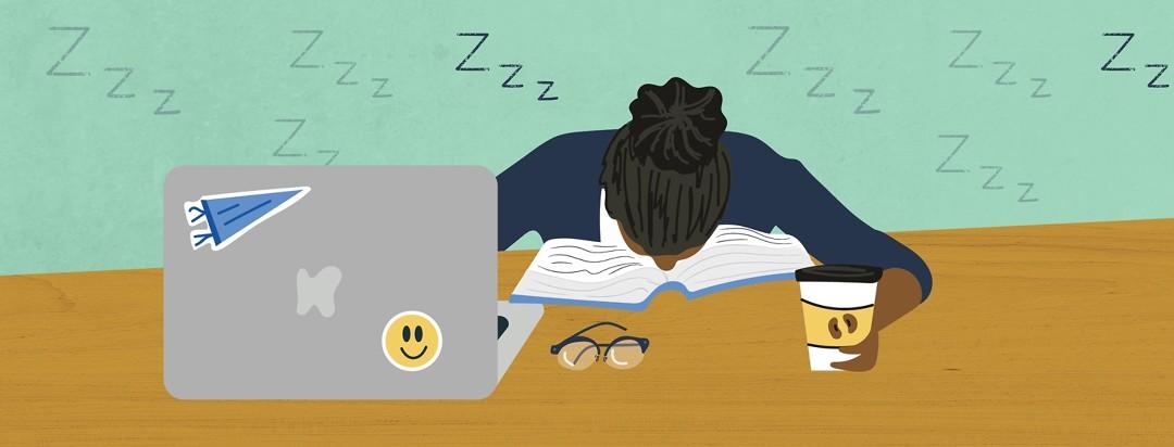 a girl with sleep apnea asleep on a book while doing homework