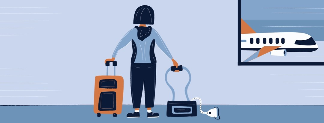 a woman with sleep apnea standing in a airport with her suitcase and her CPAP machine bag waiting too board her plane