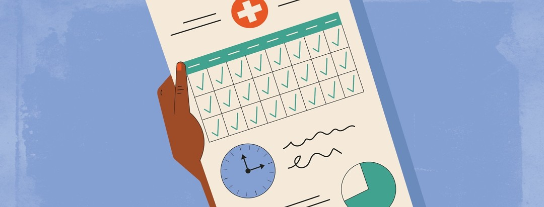a person holding a medical report for CPAP compliance which is showing a calendar, a clock, and a graph
