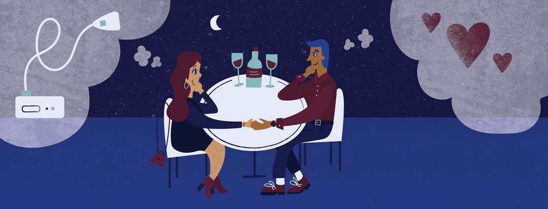 a couple on a date with the man thinking about love and the woman thinking about her CPAP machine