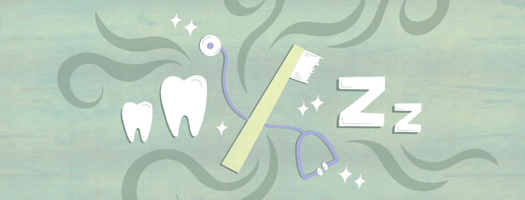 a toothbrush and a stethoscope overlapping with teeth, Zs, and swirls around them