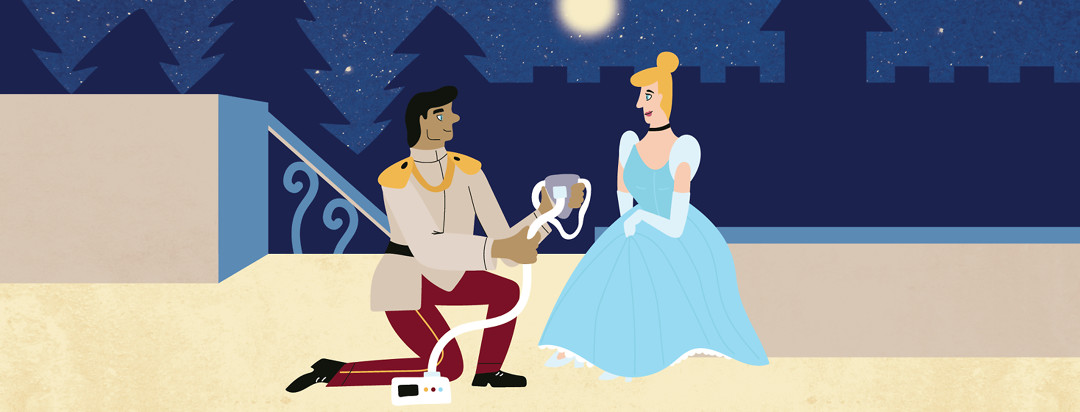 A prince kneels before a princess presenting her a CPAP machine mask