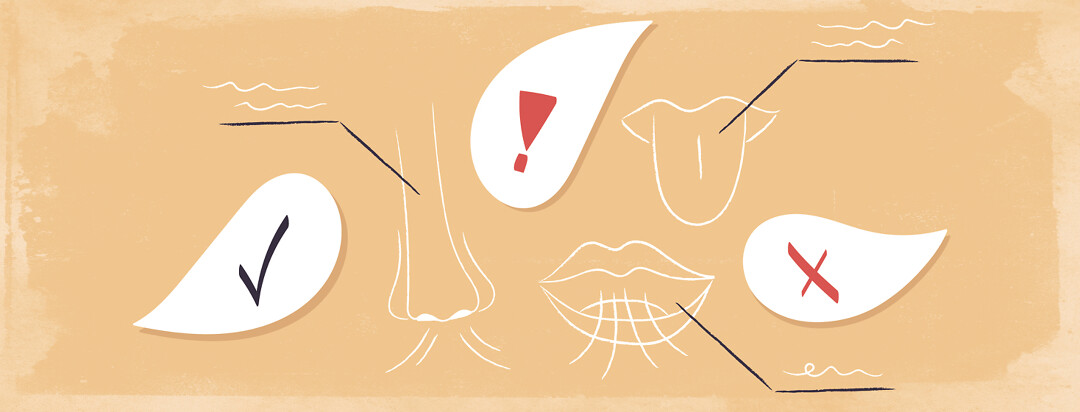 a diagram drawing of a nose with a checkmark, a mouth with an x, and a tongue with an exclamation point