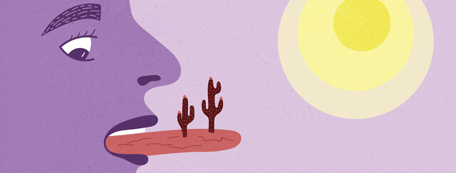 a person with dry mouth, shown with a tongue that looks like a desert with cacti growing off of it