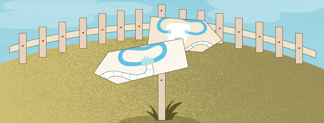 a hill with a fence and a sign with one arrow pointing to the right showing a full face CPAP mask and the other sign pointing left and showing a CPAP nasal pillow