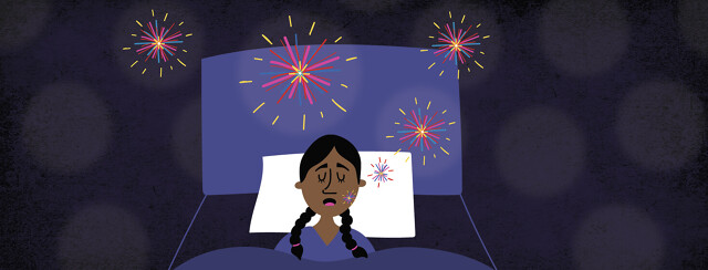 a woman sleeping and her snoring is represented by fireworks
