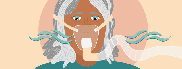 a woman wearing a sleep apnea mask, but it is leaking air from the mask and the tube