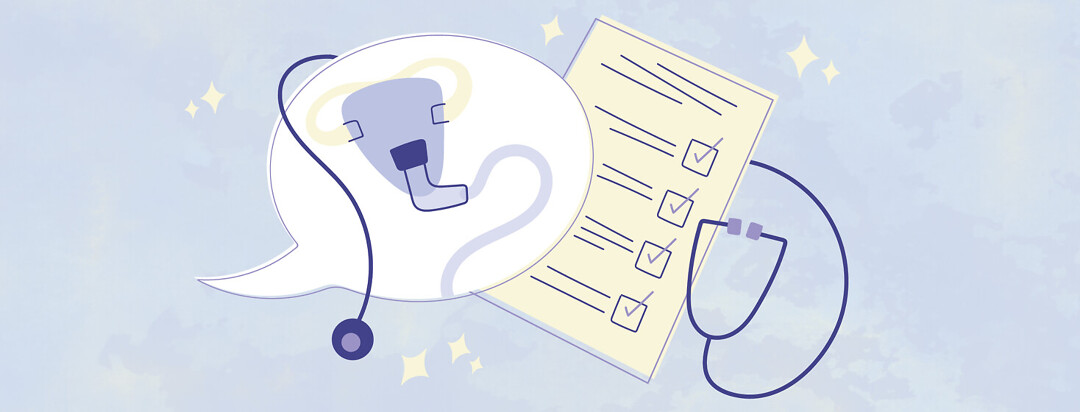 a speech bubble showing a CPAP mask and a compliance chart with a stethoscope wrapped around them