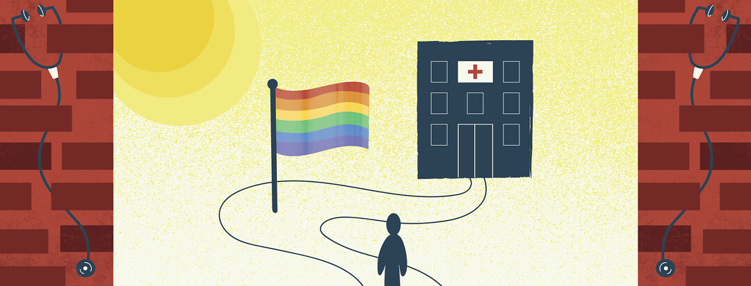a person's path to the doctor is blocked by a rainbow pride flag