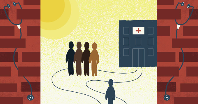 a person's path to the doctor's office blocked by a group of diverse people