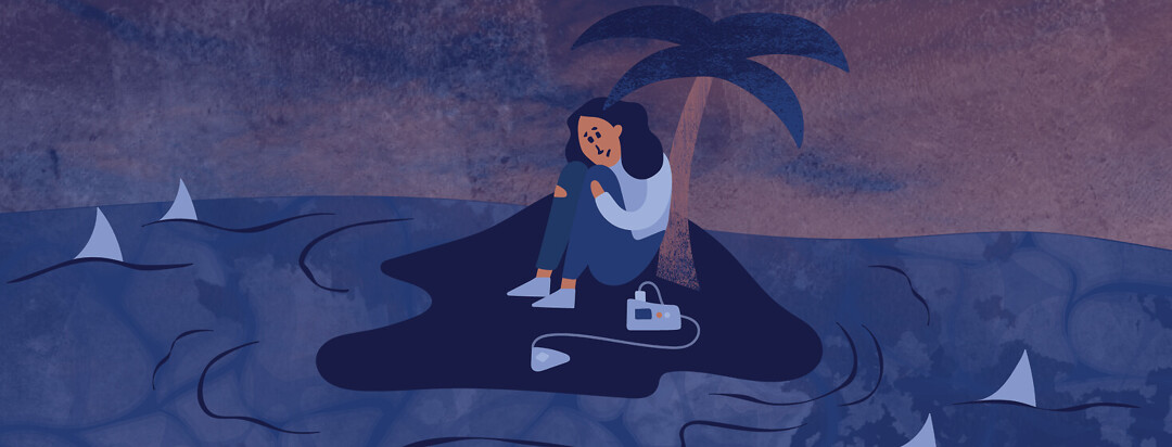 a woman sits with her CPAP machine on a deserted island in the middle of a dark ocean surrounded by sharks