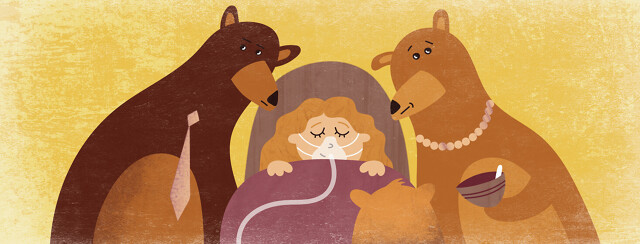 a person sleeping soundly in a bed wearing a CPAP mask while three bears stand around her
