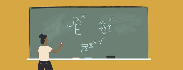 a woman writes on a chalkboard, teaching people about sleep apnea