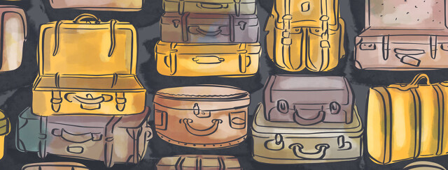 Lots of suitcases in various shapes and sizes, one of which is open and empty