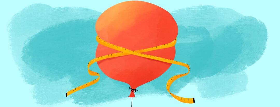 Tape measure measuring radius of large balloon in the sky
