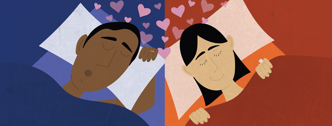 a man and woman who are married sleep in separate beds in different rooms but are connected by hearts